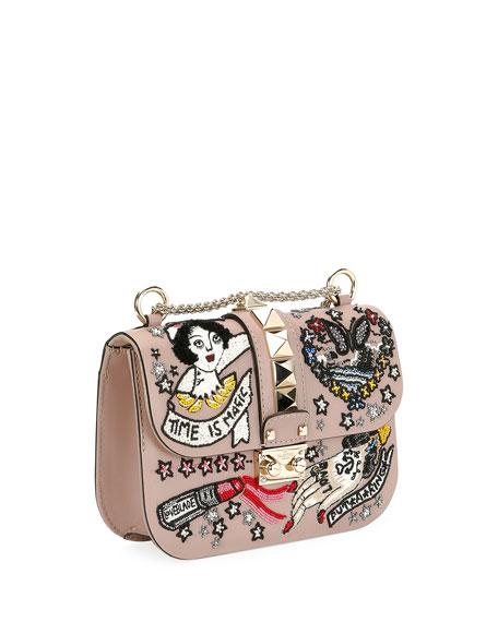 Lock Small Embellished Shoulder Bag, Beige