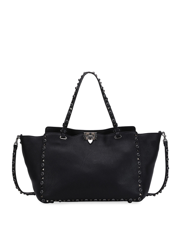 e8e1738ae3ec77 Valentino Garavani Rockstud Rolling Small Noir Leather Tote Bag, Black