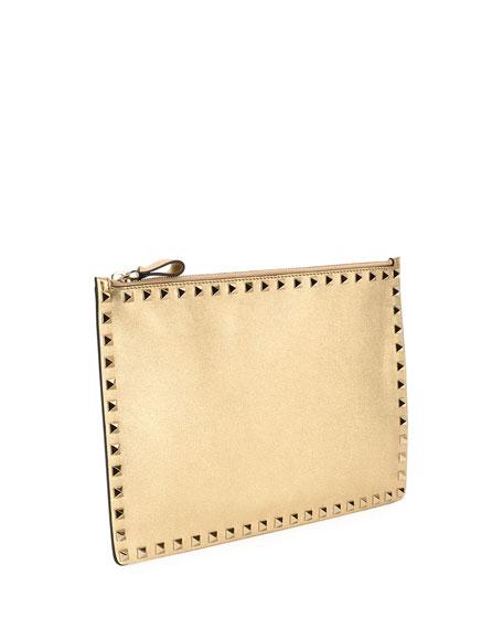 Gold Valentino Rockstud Clutch