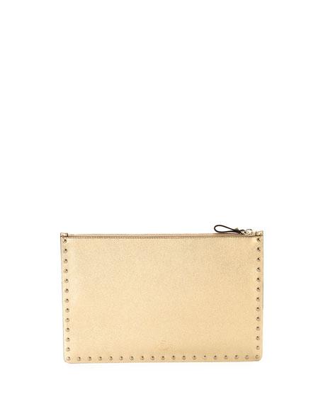 Rockstud Large Zip Pouch Bag, Gold