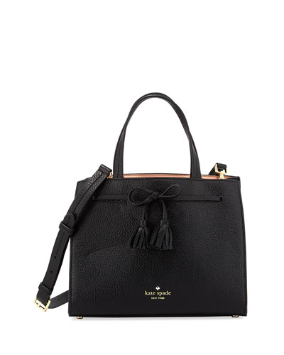 hayes street small isobel tassel tote bag, black