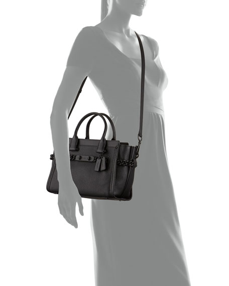 Swagger 27 Leather Satchel Bag, Black