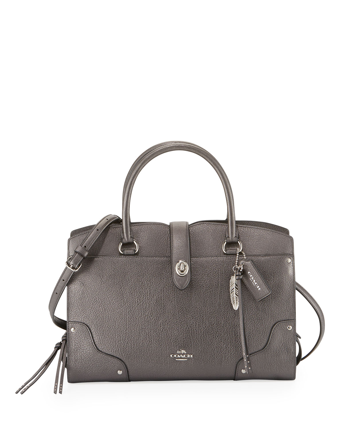 Tote - Mercer Satchel 30 Metallic Leather Silver/Metallic Graphite - grey - Tote for ladies Coach Bxcwb9