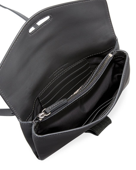 Leather Flap Monili-Tab Crossbody Bag