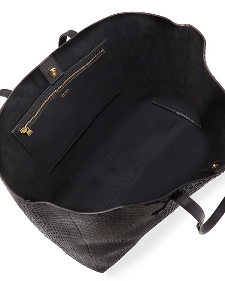 TOM FORD Large Python T Tote Bag, Black