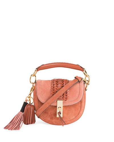 Mini Braided Top-Handle Saddle Bag  Pink