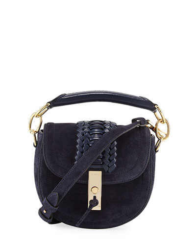 Mini Braided Top-Handle Saddle Bag, Blue