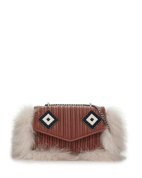 Les Petits Joueurs Ivy Mask Fur-Trim Shoulder Bag,