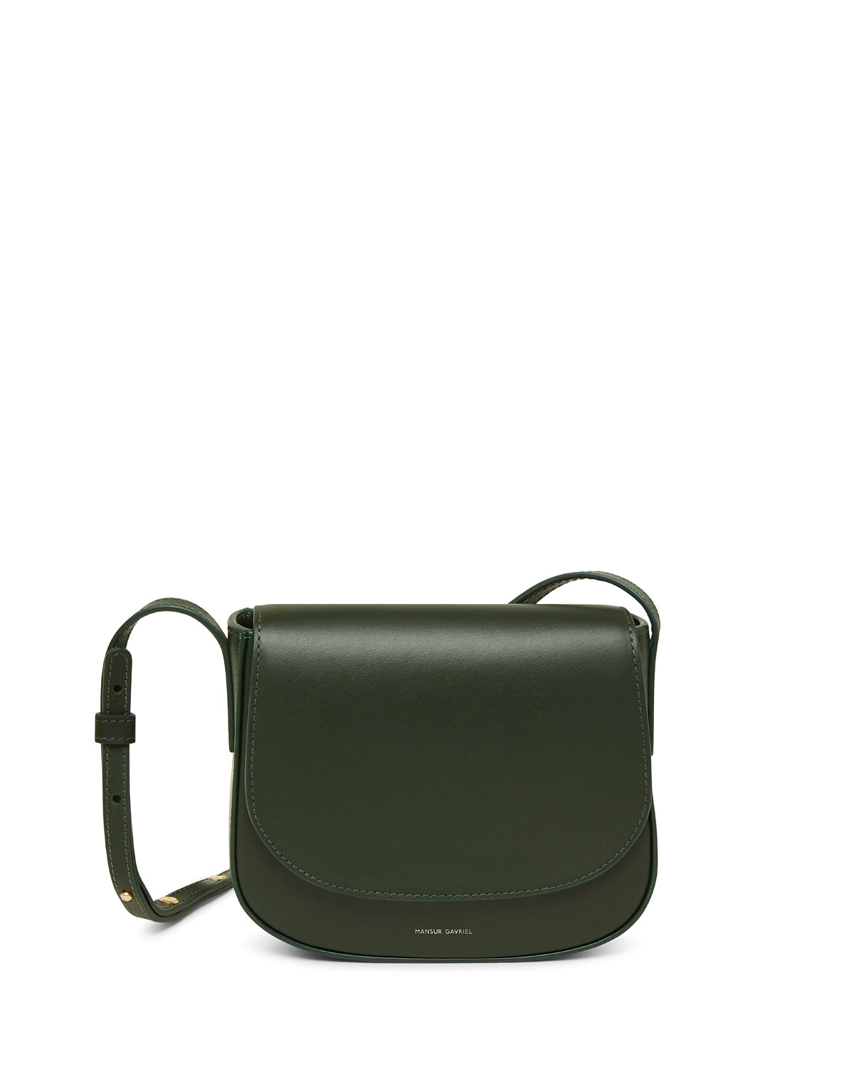 Quick Look Mansur Gavriel Mini Flap Leather Crossbody Bag Available In Green