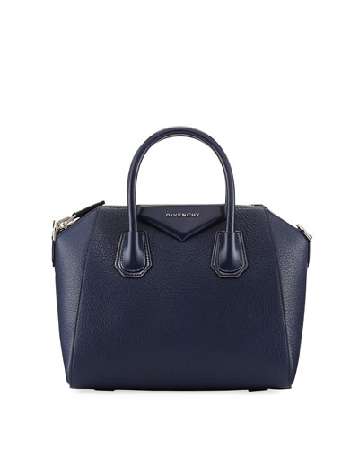 Antigona Small Leather Satchel Bag, Dark Blue