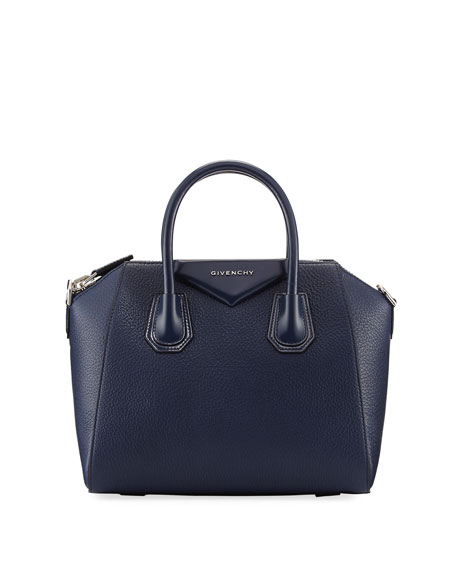 Givenchy Antigona Small Leather Satchel Bag, Dark Blue