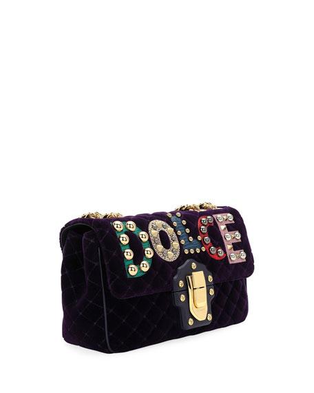 Lucia Velvet Dolce Shoulder Bag, Dark Purple