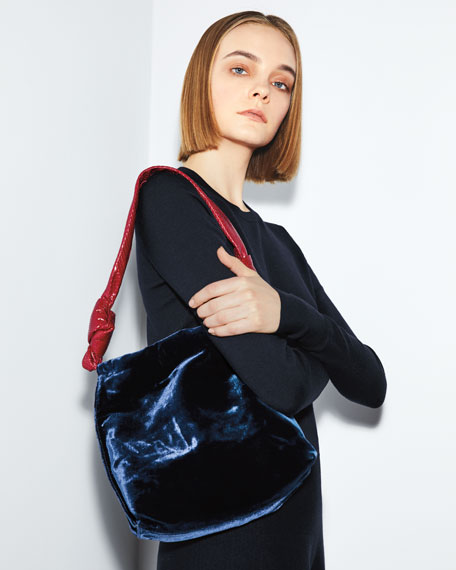 Image 2 of 3: Wander Small Velvet & Snakeskin Shoulder Bag