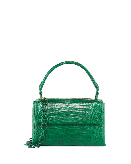 Small Crocodile Double Gusset Top-Handle Bag