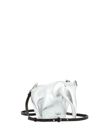 Mini Elephant Calfskin Leather Crossbody Bag - Metallic, Gray