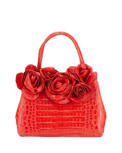 Rose Daisy Crocodile Satchel Bag