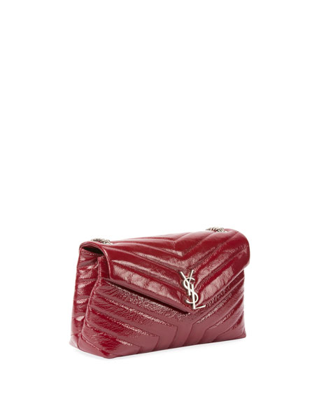 Loulou Monogram Small Y-Quilted Patent Chain Bag, Burgundy