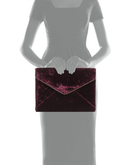 Leo Velvet Envelope Clutch Bag