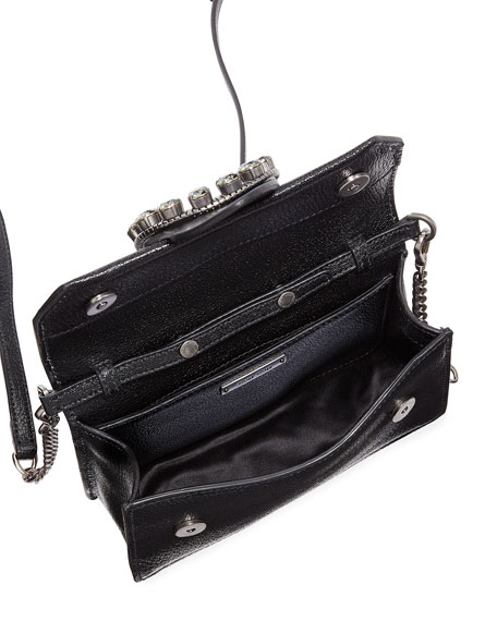 Madras Jewels Leather Buckle Clutch Bag