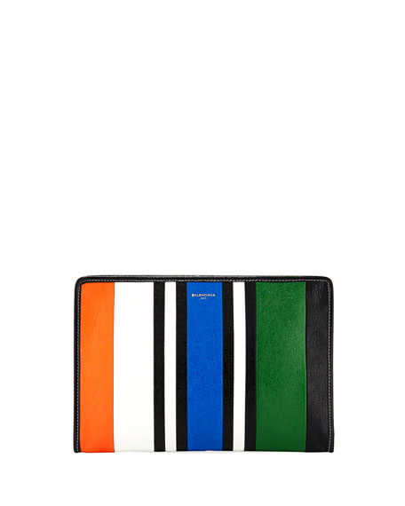 Bazar Striped Leather Pouch Bag
