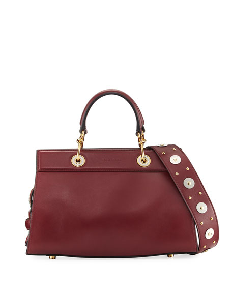 Infinity Small Smooth Studded Leather Tote Bag, Red