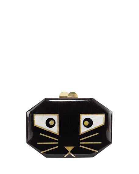 Animalia Black Cat Octagon Minaudiere Bag