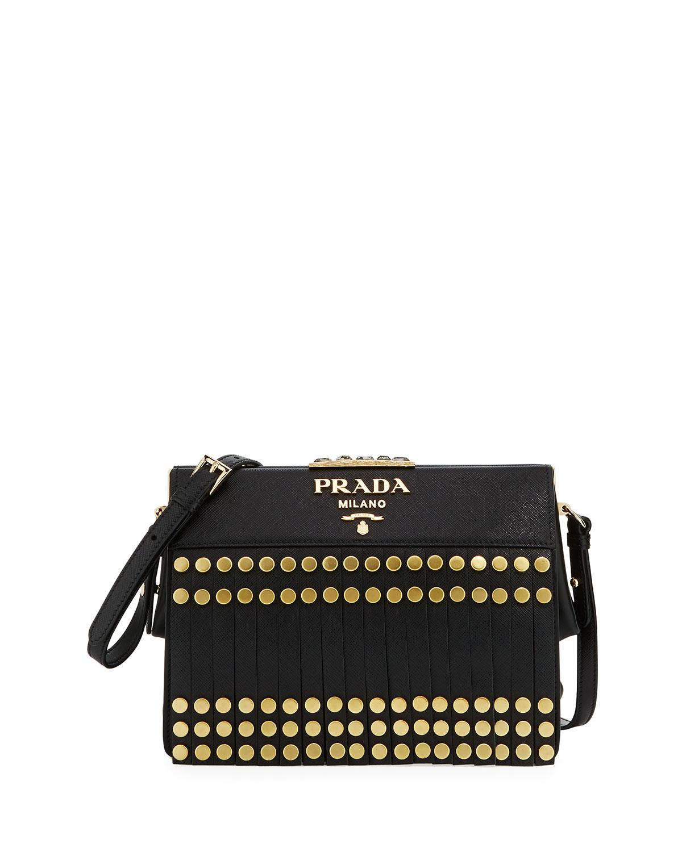 a1f956db03ea Prada Small Saffiano Fringe Crossbody Bag   Neiman Marcus