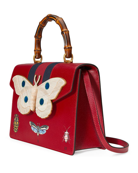 Falena Medium Moth Top-Handle Bag with Blue/Red Web