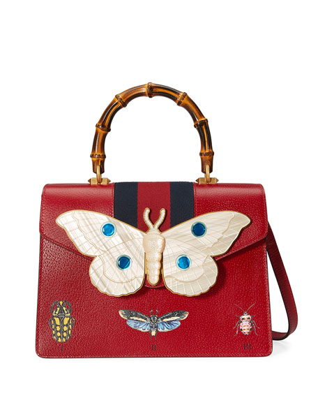 Gucci Falena Medium Moth Top-Handle Bag with Blue/Red