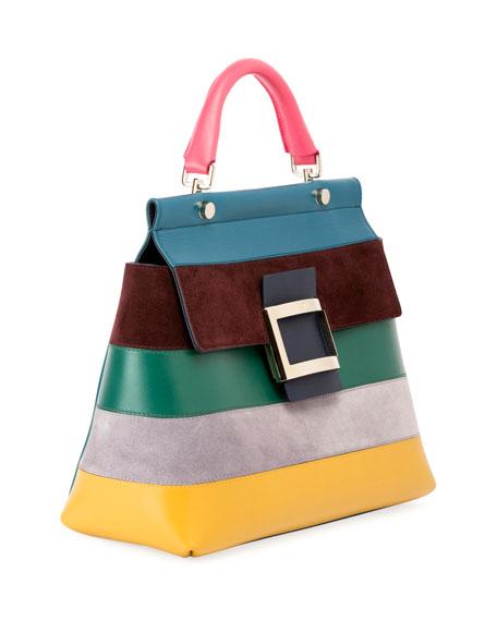 Roger Vivier Viv Cabas Small Striped Crossbody Bag