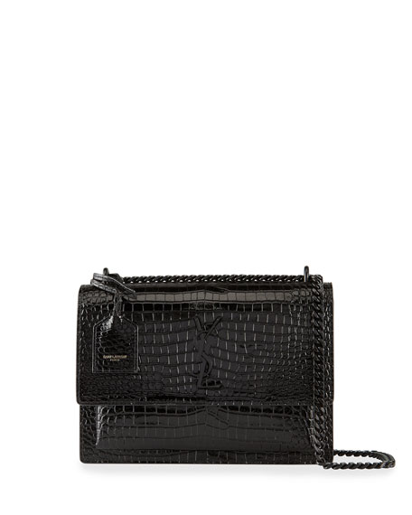 Saint Laurent Sunset Medium Monogram Croc-Embossed Shoulder Bag
