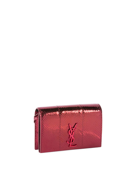 Toy Kate Monogram Two-Tone Snakeskin Wallet on Strap