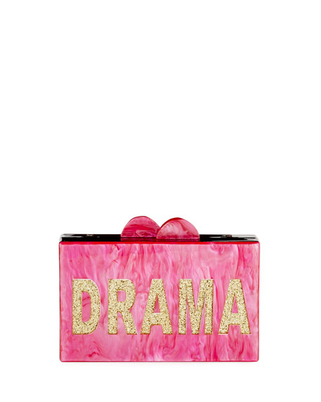 Bari Lynn Girls' Drama/Queen Glittered Acrylic Box Clutch