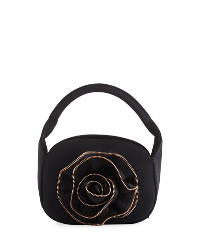 Baby Rose Zip-Trimmed Evening Clutch Bag