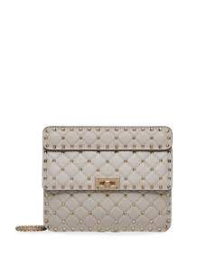 Valentino Garavani Medium Rockstud Stitched Leather Chain Shoulder Bag Color: Beige