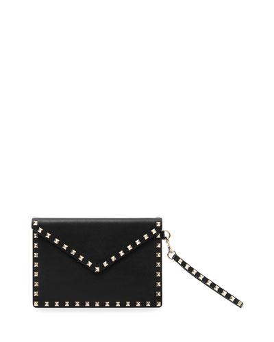 Rockstud Medium Leather Flat Clutch Bag