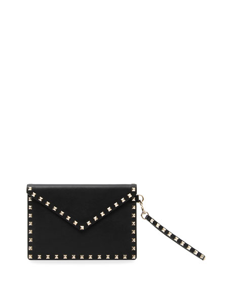 BLACK GARAVANI ROCKSTUD LEATHER CLUTCH BAG
