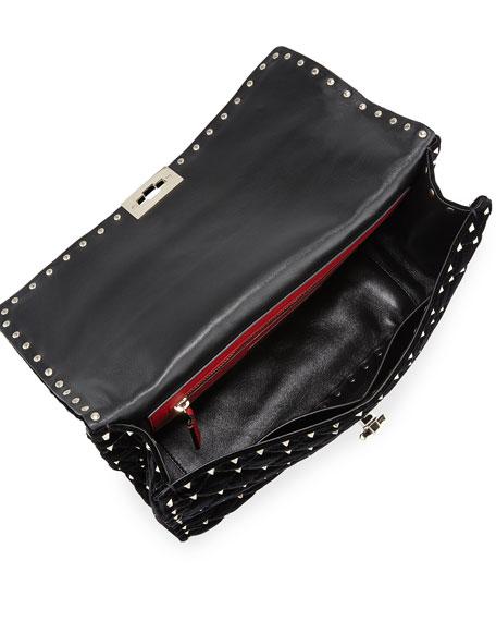 Rockstud Spike Large Velvet Top-Handle Bag