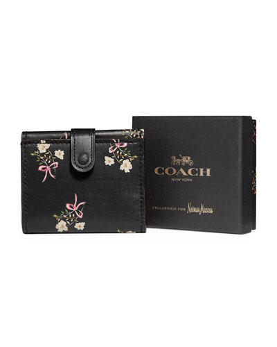 Floral Leather Tri-Fold Wallet