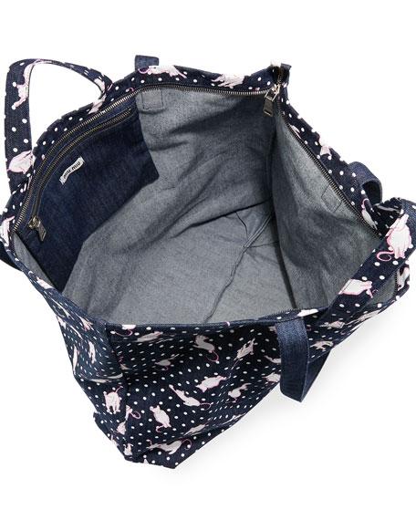 Cat and Dot Printed Denim Tote Bag