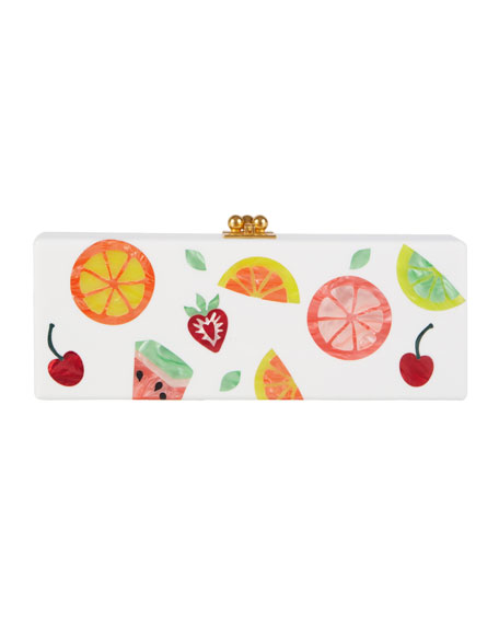 Edie Parker Flavia Fruit Cocktail Frame Clutch Bag