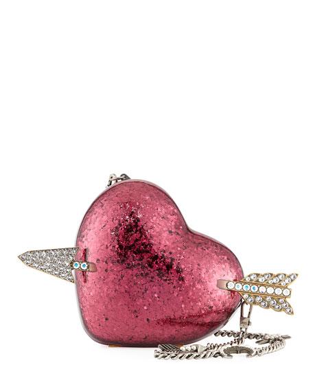 Broadway Glitter Resin Heart Minaudiere Clutch Bag
