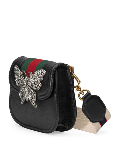 Linea Totem Small Leather Shoulder Bag with Crystal Butterfly & Web Strap