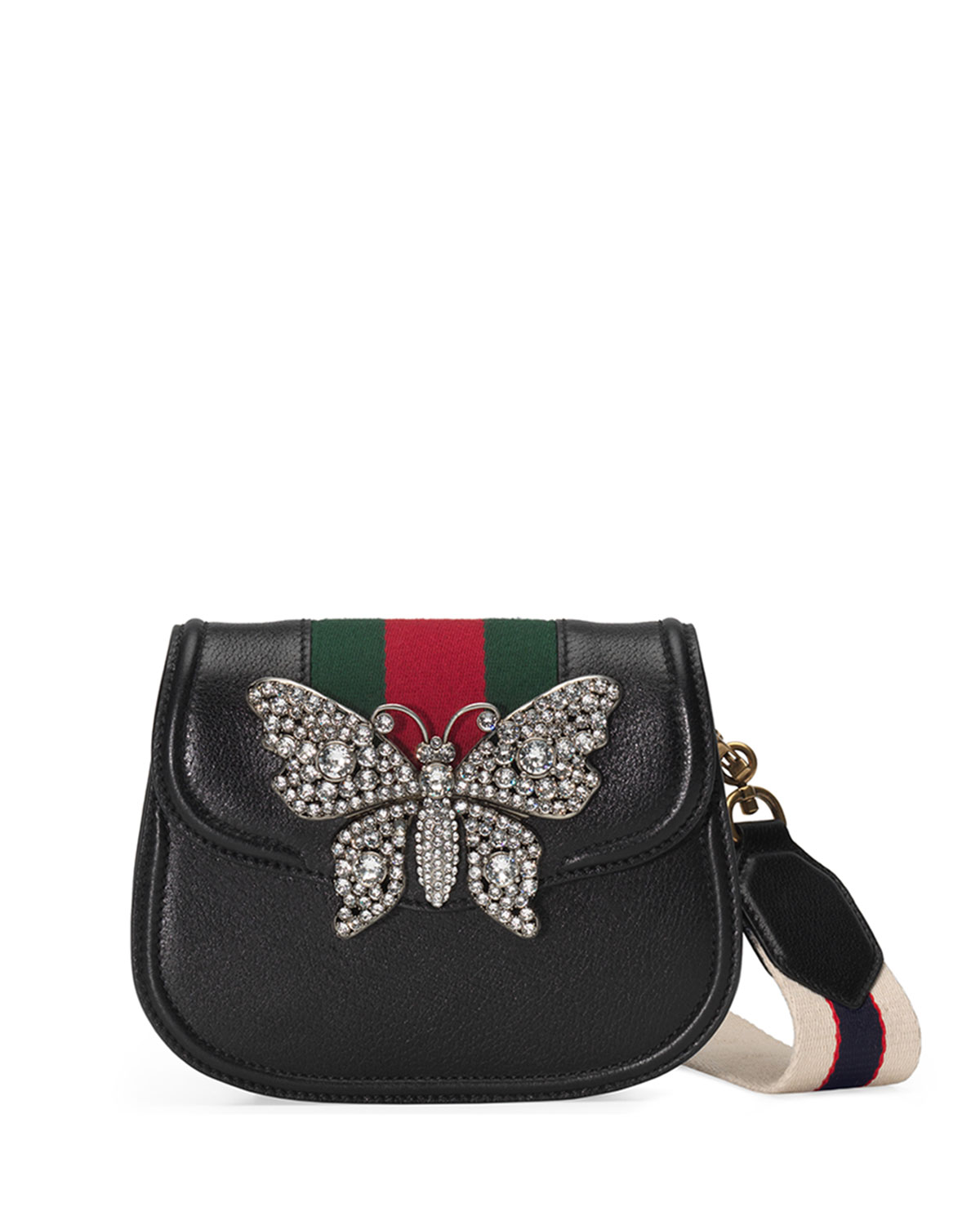 ffc2ff0673a Gucci Linea Totem Small Leather Shoulder Bag with Crystal Butterfly   Web  Strap