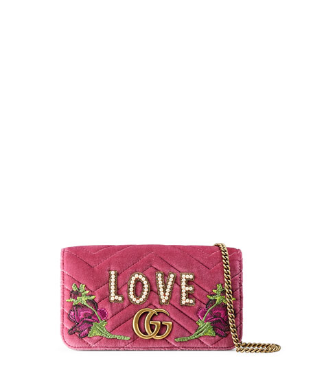 Gucci Small Full Flap Wallet-on-a-Chain with Love