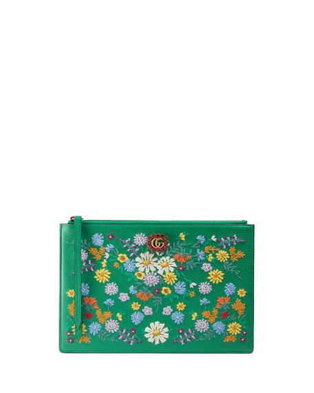 Ricamo Fiori Floral-Embroidered Clutch Bag