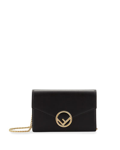 Logo Calf Wallet with Chain