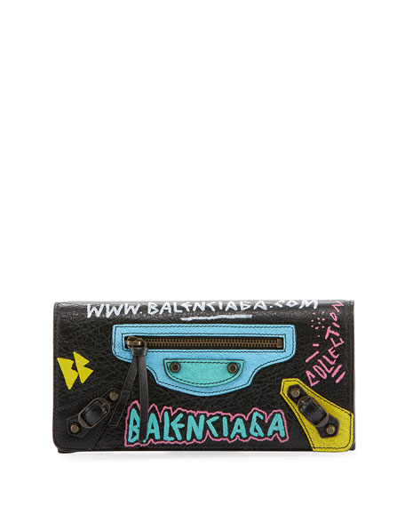 Balenciaga Classic Money Wallet with Graffiti Design