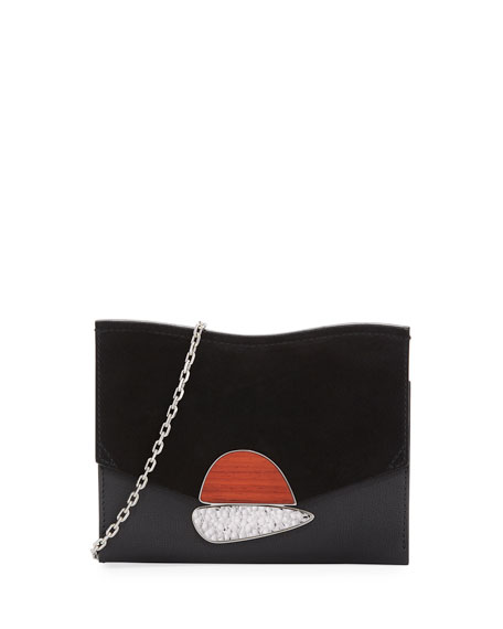 Image 1 of 3: Small Curl Leather & Suede Clutch Bag