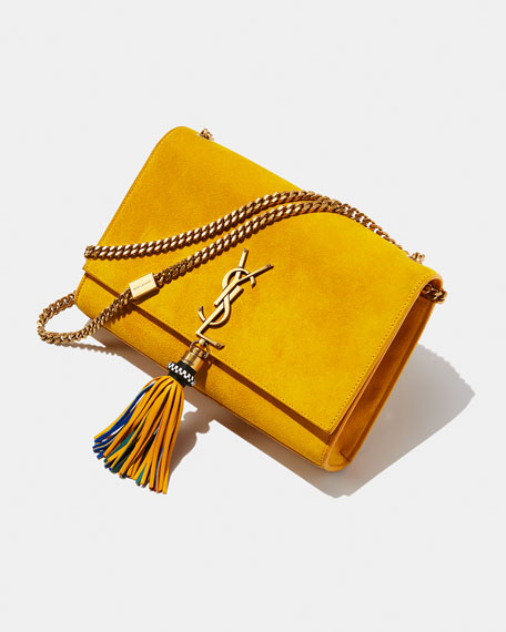 Monogram YSL Medium Suede Wallet on a Chain